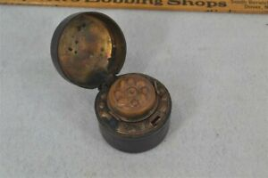 old ink well bottle traveling leather brass glass early original 19th c