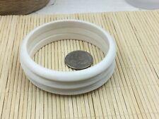 Fashion Bracelet Plastic Opaque White Set of 3 Beveled Flat bangles