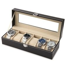 Mens 6 Grids Leather Watch Display Case Jewelry Collection Storage Holder Box