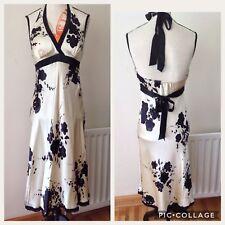 e70daf74c4a Oasis Halter Neck 100%silk Fully Lined Cream Black, Sequins Detail Dress  Size-