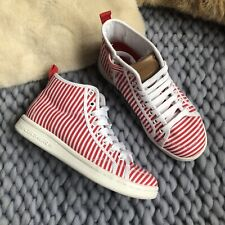 Skechers Girls Red Stripe High Top Trainers Air Cooled Memory Foam Size Uk 2 New