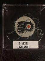 PHILADELPHIA FLYERS NHL SIMON GAGNE AUTOGRAPHED PUCK