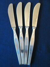 SET 4 DINNER KNIVES! Vintage GERMANY stainless: mid century DIAMOND pattern: EXC