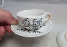 Vintage child's tea set cup & saucer. Dancing mice. Japan ceramic