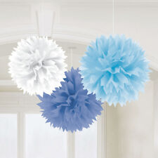 3 x Large Blue & White  paper Fluffy hanging decorations Baby Shower Christening