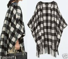 ZARA HAND MADE WOOL CHECKED PONCHO KIMONO CAPE WOLLE MANTEL ONE SIZE M / 36 - 46