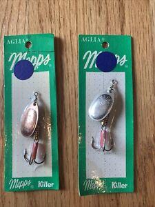 2 x Mepps Aglia Killer #3 NOS Vintage Fishing Lure Spinner
