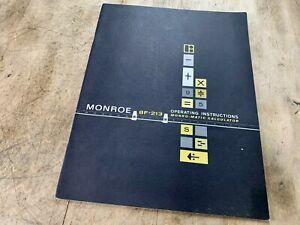 Vtg MONROE 8F-213 CALCULATOR Instruction Manual Book Antique Adding Machine