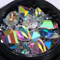 Transparent AB Color Nail Rhinestones Marquise Heart 3D Nail Art Decoration DIY