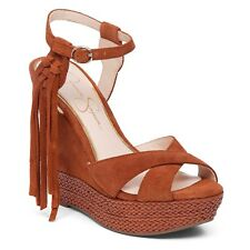 New Jessica Simpson Ingrim Womens Size 9.5M Brown Suede Fringed Platform Sandals