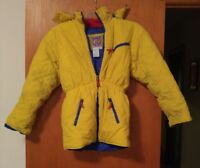 000 Vintage Kids Youth Casual Blues Yellow Casual Time 10-12 Hooded Coat Ski
