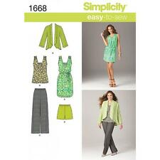 SIMPLICITY SEWING PATTERN MISSES DRESS TUNIC PANTS SHORT JACKET XXS - XXL 1668