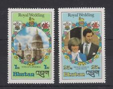 1981 Royal Wedding Charles & Diana MNH Stamps Stamp Set Bhutan Perf 1nu &25nu