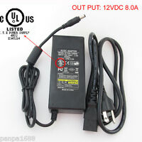 1pc 12V 8A Power Adapter 3 Prong AC Plug to 2.5mmx5.5mm DC Power Plug Cable UL