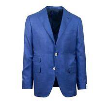 NWT CARUSO Blue 3 Roll Two Button Silk Sport Coat 50/40 R Drop 6
