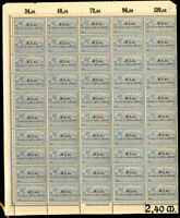 Germany Early Revenue Stamp Sheet NH