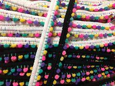 JUMBO Pom Pom Bobble Tassel Rainbow Multi Colour Trim Braid Fringe Ribbon Crafts