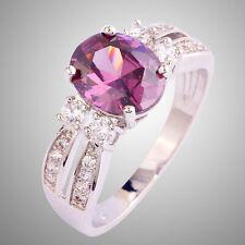 Women Oval Cut Amethyst & White Topaz Gemstone Silver Ring Size 6-11 Jewelry