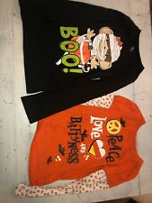 Sz 7 8 TCP Childrens Place Halloween Shirts Lot Of 2 Orange Black VGUC