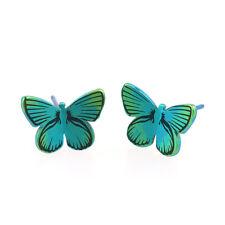 Green Butterfly Titanium Stud Earrings