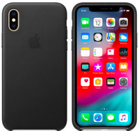 Schwarz iPhone X 5,8'' Apple Echt Original Leder Schutz Hülle Case
