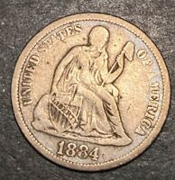 1884 Seated Liberty Silver Dime 10c Full Liberty Obsolete Type Coin