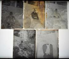 People and Dog in Garden Set of 5 Antique 1910s Glass Photograph Negatives