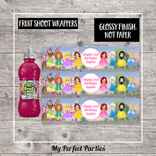 6 Personalised Princess GLOSSY Fruit Shoot Bottle Wrappers Party Favours