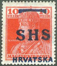 Yugoslavia SHS Croatia 1918, 10fil. Charles Wrong Type of Overprint, MH