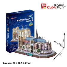 """3D PUZZLE CATTEDRALE """"NOTRE DAME DE PARIS"""" 149 PEZZI  CON LUCI LED- IDEA REGALO"""