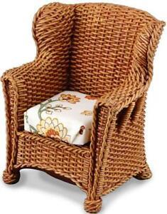 Wicker Wing Chair 1.812/0 Reutter Arm Rattan Brown Garden Dollhouse Miniature
