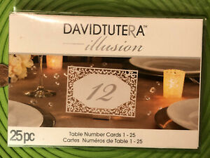"Wedding Table Number Cards 6"" Illusion Numbers 1-25 Signs David Tutera 2037"