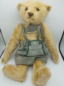"""Steiff 20"""" Vintage Mohair Bear Lederhosen Makes noise blonde bear"""