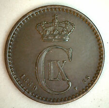 1889 Bronze Denmark 1 Ore Coin Currency XF+