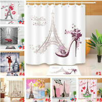 Romantic Paris Eiffel Waterproof Fabric Shower Curtain Set Bathroom w/12 Hooks