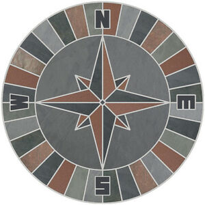 "24"" Mosaic Medallion Natural Stone Nautical Compass Rose - Slate & Quarry Tile"