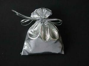 4 x  Silver Satin  Jewellery Gift Pouch Pouches  Bags   5cm x 7cm