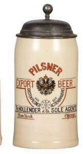 1890s PILSNER BREWING COMPANY METTLACH ADVERTISING LIDDED STEIN / BEER MUG