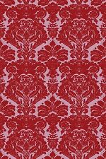 TIMOROUS BEASTIES DAMASK WALLPAPER COLOUR RED ON PALE PINK