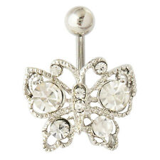 VINTAGE GEM PAVED CASTED BUTTERFLY BELLY NAVEL RING BUTTON PIERCING JEWELRY
