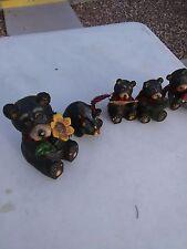 Set of 5 Decorative Wooden Black Bears 1 Lg 4 sm