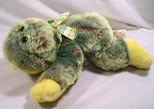 "Green Yellow Frog Stuffed Plush by Dan Dee,14"" Bean Filled Frog Plaid Ribbon Bow"