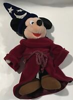 "Vintage Walt Disney World Mickey Mouse Fantasia Wizard Plush 16"" Doll Stuff Toy"