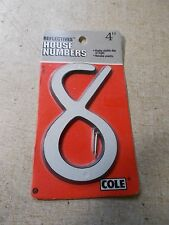 "New Cole 03-6073 Reflective House Number 8 4"" *Free Shipping*"