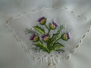 """scottish table runner 46"""" long with thistles on it cream colour"""