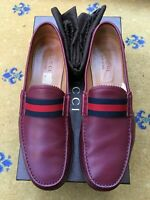 Gucci Mens Shoes Red Leather Web Loafers UK 10 US 11 EU 44 Blue Burgundy
