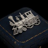 Antique Vintage Deco 925 Sterling Silver BEAUCRAFT Train Locomotive Pin Brooch