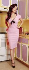 Pinup Couture,Pinup Girl Clothing, Natalie Dress Pink With Black Bow,Size S