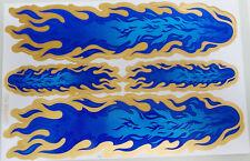 Aufkleber Sticker Deko - Flammen Feuer Gold Blau                            #124