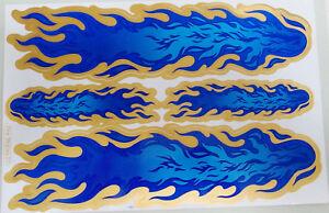 Aufkleber Sticker Deko - Flammen Feuer Gold Blau #125